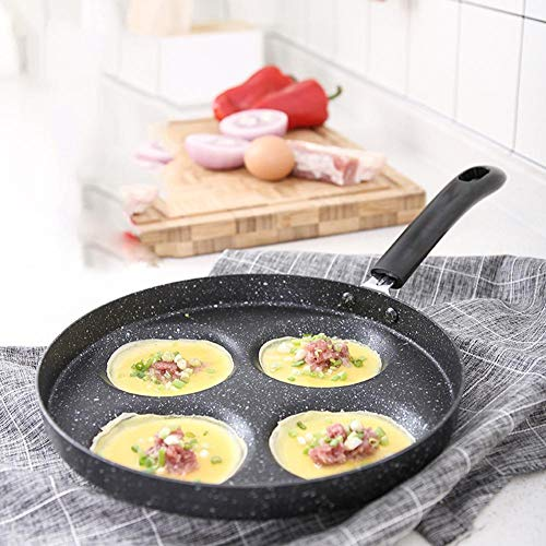 Getherad Omeletpan mini viergat platte pan ontbijt knellen anti-aanbaklaag pannenkoekenpan omeletvorm positief