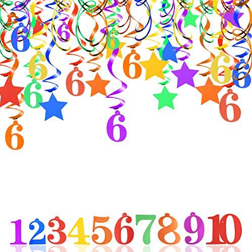 HOWAF Bunt 6. Geburtstag Deko für Mädchen Junge 6 Jahre Geburtstag Dekoration, 30 Stück Deckenhänger Wirbel Spiral Girlande 6. Geburtstag Hängedeko mit Motiv Star Nummer 6 für Sechs Jahre Geburtstag