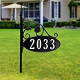 """Address America Park Place Customized Home Address Yard Sign with Oval House Number Plaque, 30"""" Pole – Great Gift Idea, Handcrafted, Double-Sided, Personalized and Visible Day and Night"""