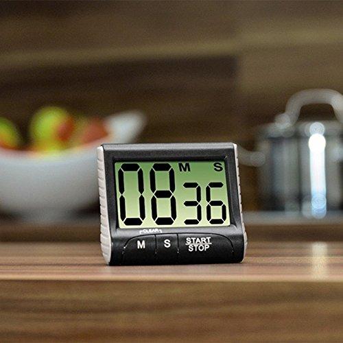 Kanggest.Temporizador de Cocina Digital Electrónico con Display Grande con cronómetro y Alarma Recordatorio de Laboratorio Reloj Despertador de Cocina para Hornear y Más(Blanco)