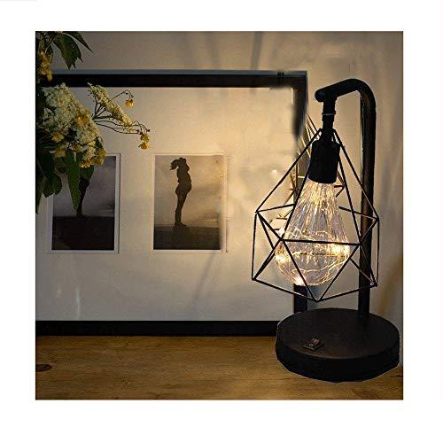 PULLEY USB color luz nórdico pequeña lámpara de mesa hierro forjado geométrica diamante chica caliente dormitorio lámpara simple creativa mesa enchufado