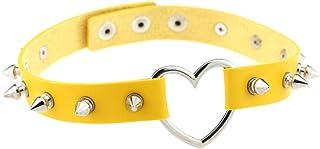 Women Punk Leather Choker Heart Necklaces Girl Spike Rivet Rock Adjustable Collar Necklaces