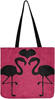 Romantic Flamingo Bird Love Heart Floral Pink Canvas Tote Handbag Shoulder Bag Crossbody Bags Purses For Men And Women Shopping Tote