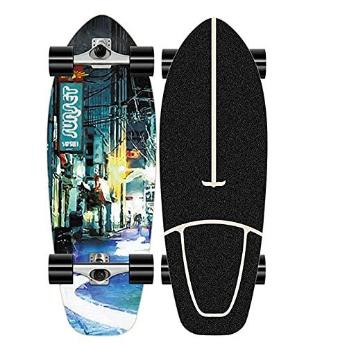 XKAI Skateboard Carver Surfskate Principiante Complete Cruiser 75 * 23CM Monopatin Adultos Pumping Maple Longboard Fancy Board Deck CX4 Truck Niños Adolescentes Maple Surfskate, ABEC-11 Rodamientos