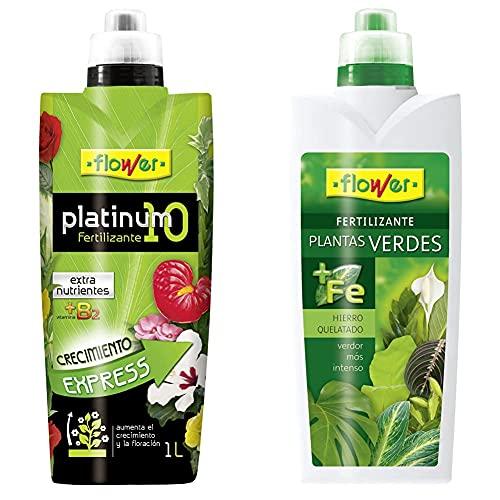 Flower Abono Liquido Platinum-10 1L, Único + Abono Liquido Planta Verde 1L,...