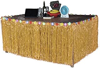 """Sc0nni Hawaiian Luau Hibiscus Natural Color String & Colorful Silk Faux Flowers Table Hula Grass Skirt for Party Decoration, Events, Birthdays, Celebration, 9' x 29"""""""