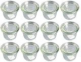 Weck - Glas in Mini-Sturz-Form mit Deckel 80 ml - 12-teilig/1St