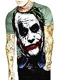 Camiseta de Hombre Joker - Manga Corta - Caballero Oscuro - 3D - Divertido - suéter - niño - Disfraz - Halloween - Multicolor - Talla XXL