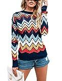 Bonkwa Jersey de Punto para Mujer Cuello Redondo diseño de Rayas vacías Colores del Arcoiris Suéter para otoño e Invierno (T1, XL)
