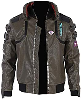 Xmecos Cyberpunk Jacket Durable Brown PU Leather Adult Coat Fashion Cosplay Costume