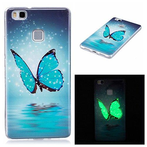 Funda Compatible con Huawei P9 Lite, Carcasa Luminoso de Silicona Suave TPU Gel Diseño Dibujos Animados Noctilucent Ultra Fina Anti-Scratch Fluorescente Funda - Mariposa