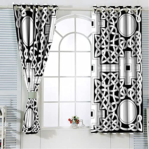 Small Curtains for Windows 63 Inches Length, Everlasting Celtic Knot Curtain Panel Set for Living Room / Bedroom, 2 Panels 55 x 63 Inch