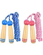 Kissral 2 Pack Kids Skipping Rope, 7.5Ft Verstelbare Katoen Springtouw Speed Touw met Houten Handvat voor Jongens en Meisjes Fitness Training, Oefening, Outdoor Activiteit