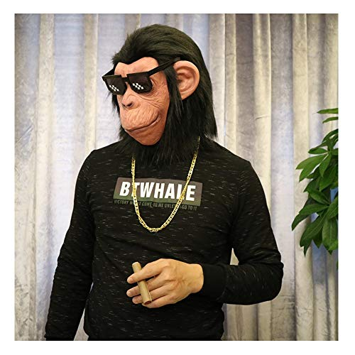 Axroad Mall Orangutan Kopf Schablonen mit Sonnenbrillen for Halloween Weihnachten Ostern Kostüm-Partei-Latex Tierkopf Masken
