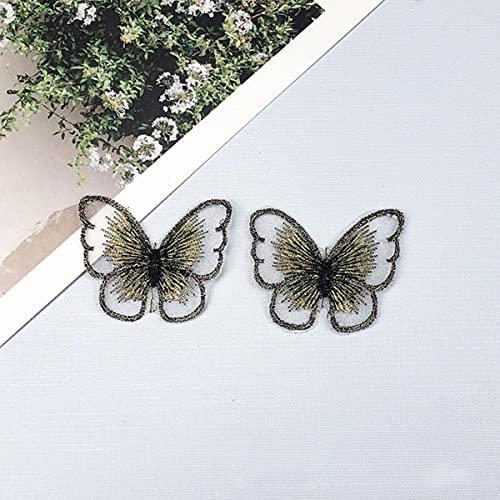 10 Uds pegatinas de tela de mariposa bordadas Color Organza ropa parche de tela DIY accesorios de ropa hechos a mano decorativos-10,4x3cm