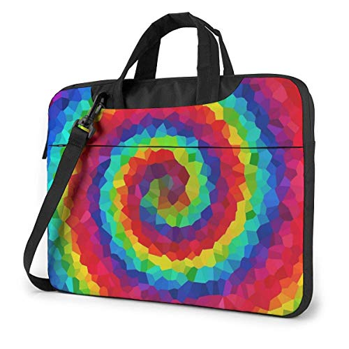 Laptop Tote Bag, Swirl Rainbow Tie Dye Durable Laptop Messenger Bag with Handle Fits 13-15.6in Notebook for Office
