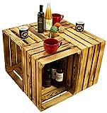 Kistenkolli Altes Land Lot de 4 caisses à Fruits Creuses et flammées de caisses à vin flambées de caisses de Pommes décorées de Bois 50 x 40 x 30 cm