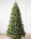 Balsam Hill 7.5ft Premium Prelit Artificial Christmas Tree Woodland Spruce with Multicolor LED Lights, Easy Plug, Storage Bag, and Fluffing Gloves