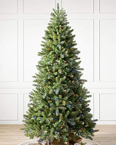 Balsam Hill 9ft Premium Prelit Artificial Christmas Tree Woodland Spruce with Multicolor LED Lights, Easy Plug, Storage Bag, and Fluffing Gloves