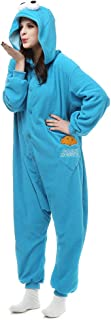 HOLA SUNNY Sesame Street Cookie Monster & Elmo Onesie for Adults. Halloween Xmas Animal Kigurumi Pajama Costume for Women/Men