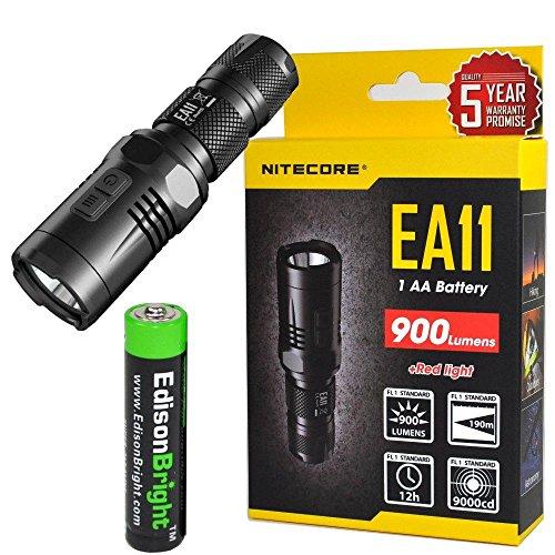 Nitecore EA11 Cree XM-L2 LED Flashlight Max 900 Lumens, Red secondary mode with, Holster, clip, lanyard & EdisonBright AA battery