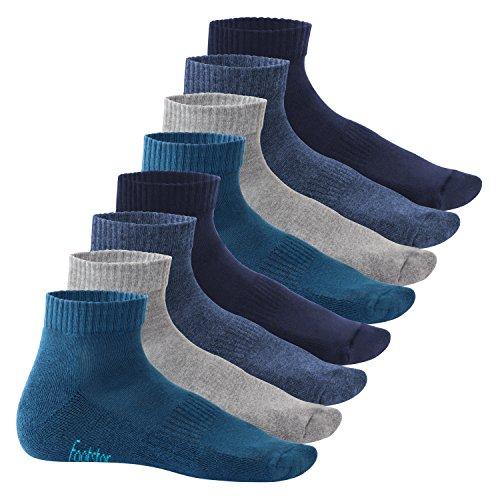 Footstar Damen & Herren Kurzschaft Socken mit Frottee-Sohle (8 Paar) - Sneak it! - Jeanstöne 39-42