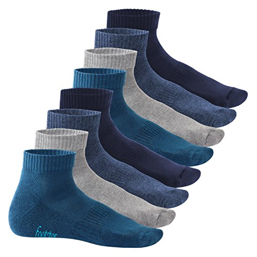 Footstar Damen und Herren Kurzschaft Socken mit Frottee-Sohle (8 Paar) - Sneak it! - Jeanstöne 47-50