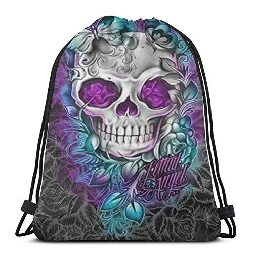 Light Ing Drawstring Bag Butterfly Cool Sugar Skull String Backpack Portable Durable Gym Bag Soft Cinch Pack