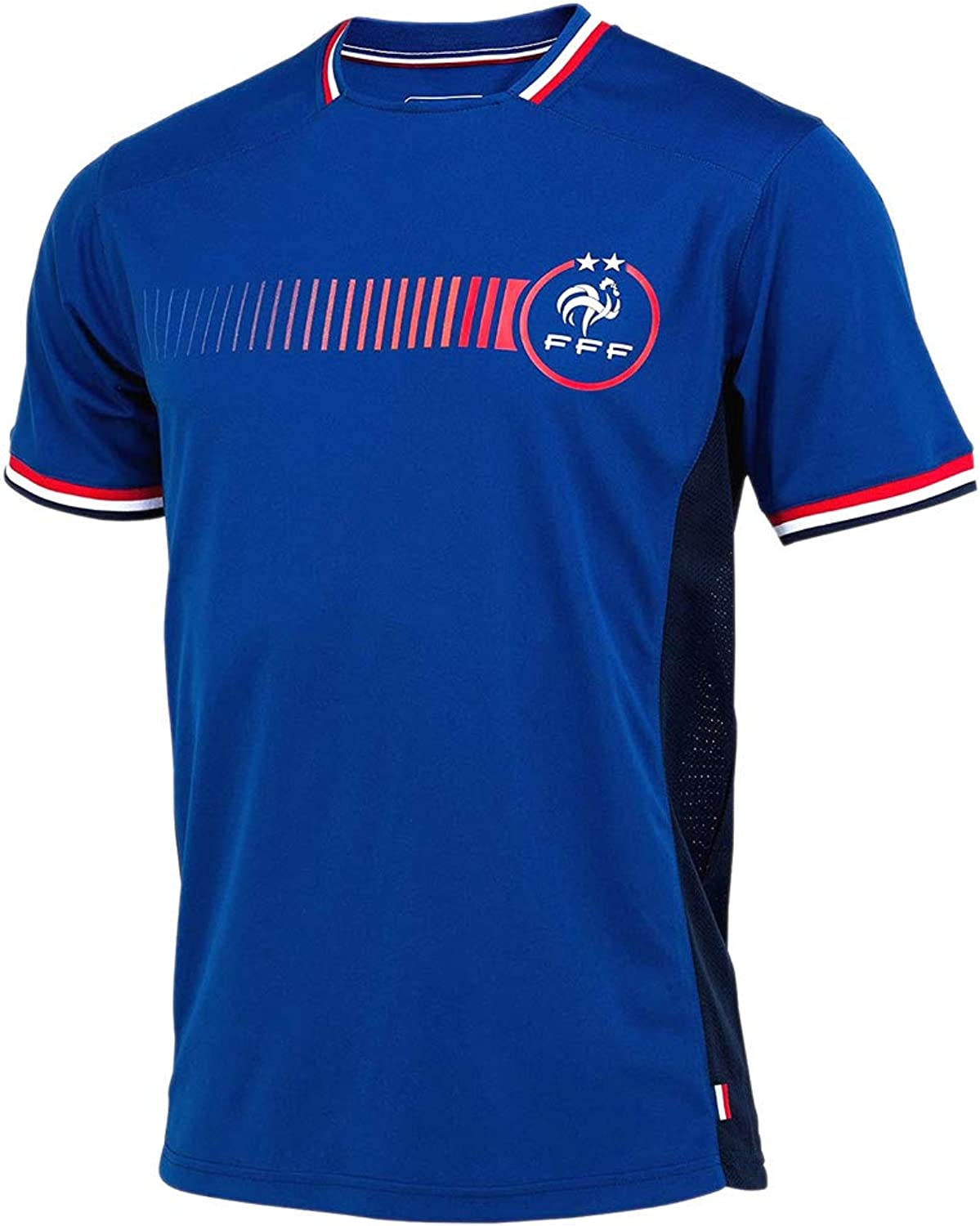 FFF  French Football Team 2 Stars Men's Soccer Jersey  bluee