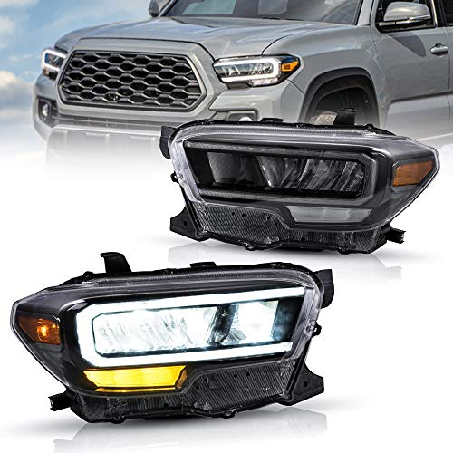 VLAND LED Headlights Compatible with Tacoma 2016-2019 3rd Generation N300 Pickup Truck w/LED DRL w/Reflective Bowl w/Amber Side Marker Black Housing Projector Front Lamp Set