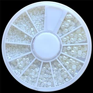 50 Wheels White Pearl Nail Art Stone Different Size Wheel Rhinestones Beads