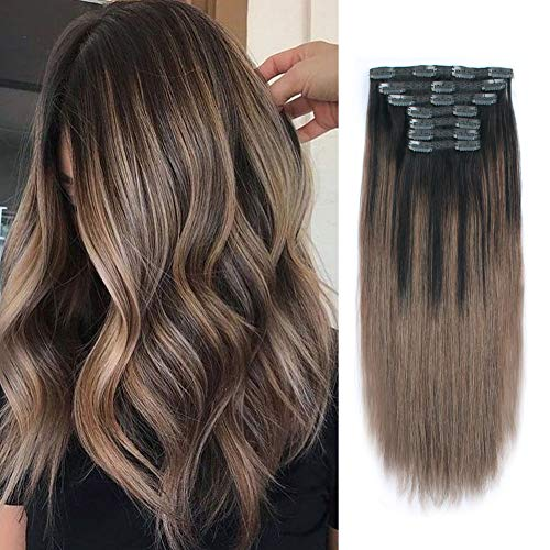 Lovrio 9A Grade Remy Human Hair Clip Ins Balayage Color Dark Brown Fading to Chestnut Brown B2/6 silky straight Invisible Clip on Hair Extensions 22 inch 140g 7 pieces 18 clips