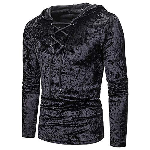 DNOQN Herren Lässige Reine Farbe Pullover Velour Hoodie Langarm Sweatershirt Tops Herren Freizeit Herbst Poloshirt T Shirt Lang Schwarz S