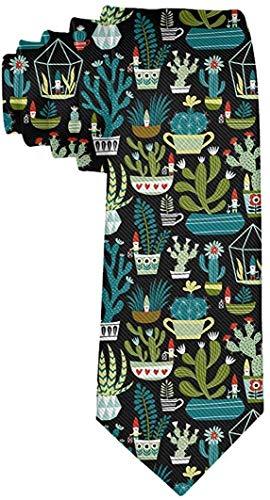 Gnomes Succulents Cacti Terrarium Men Date Gift Novelty Necktie Geweldig voor bruiloft, feest, Groomsmen