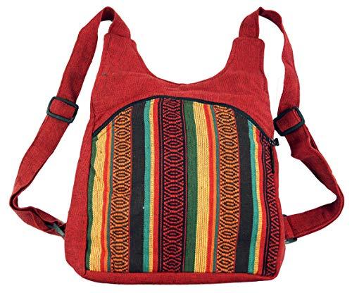 GURU SHOP Ethno Rucksack, Nepalrucksack - Rot, Herren/Damen, Baumwolle, Size:One Size, 30x30x15 cm, Ausgefallene Stofftasche