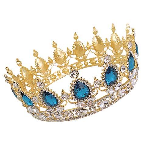 FRCOLOR Rhinestone Barroco Corona de Aleación de Cristal Nupcial Boda Tiara Corona...