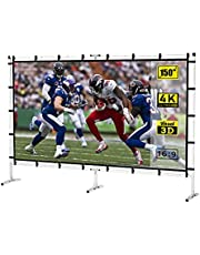 PVO Projector Screen with Stand 150 inch Portable Projection Screen 16:9 4K HD Front Projection Movie Screen for Indoor Outdoor Home Theater Backyard Cinema Projector Screen with Adjustable Stand