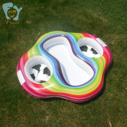 Lafuncosa Inflatable Rainbow Twin Baby Pool Float Double Seats Baby Swim Float Ring