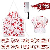 Halloween Bloody Butcher Costumes Scary Set - Cooking Chef Apron Hat Weapon Knife Tattoo Stickers Zombie Party Accessories Decorations 13PCS