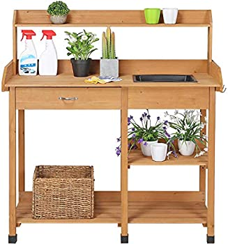 YAHEETECH Potting Bench Outdoor Garden Work Bench
