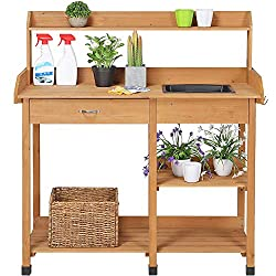 commercial Topeakmart outdoor garden pot mountain table workbench, with removable sink drawer shelf … potting benches