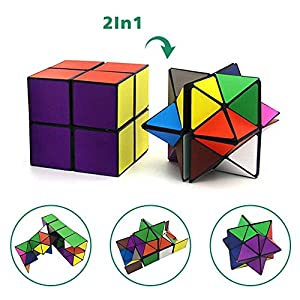 Euclidean Cube Star Cube Magic Cube Set (2 Piece), Transforming Cubes Magic Puzzle Cubes for Kids and Adults by Threerivers