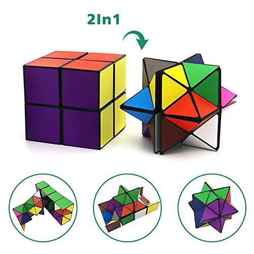 Juego de cubos mágicos con forma de cubo de estrella, cubos transformadores para niños y adultos (multicolor)