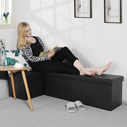 SONGMICS-43-Inches-Faux-Leather-Folding-Storage-Ottoman-Bench-Storage-Chest-Footrest-Padded-Seat