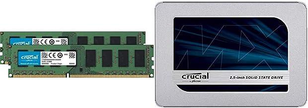 Crucial 16GB Kit (8GBx2) DDR3L 1600 MT/s (PC3L-12800) Unbuffered UDIMM Memory CT2K102464BD160B Bundle MX500 500GB 3D NAND ...