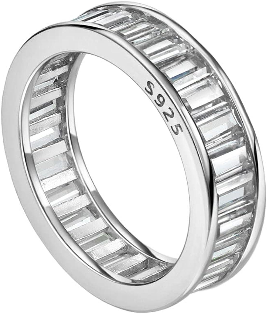 Michooyel S925 Emerald Cut Sale item Eternity Free shipping on posting reviews Setting Ring Channel Wedding