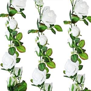 White Silk Rose Garland – Wedding Decoration