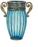 Vase Tumba de cristal hecho a mano para manualidades, plantas hidropónicas, de hierro forjado, binaural, decoración para el hogar (33 x 16 cm) para flores