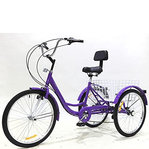 Triciclo para adultos bicicleta Three Wheel Cruiser Bike 7 Speed tricycle Adult 24in Adult Bicycle High Carbon Acero Marco Con Cesta De Compras Y Respaldo Del Asiento, Deportes Al Aire(Color:Purple)