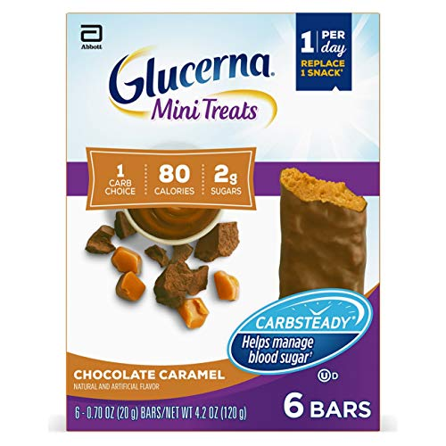 Glucerna Mini Treats, 24 Count, for People with Diabetes to Help Manage Blood Sugar, with Carbsteady & Essential Vitamins & Minerals, 80 Calorie, Chocolate Caramel, 0.70 Oz
